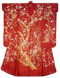 Furisode, Late Edo period (1789–1868), 19th century Silk, 4:1 satin damask weave, rinzu; yuzen dyed, painted, and stenciled; embroidered with silk and gold-leaf-over-lacquered-paper-strip-wrapped cotton in satin and single satin stitches; laid work, couching, and Chinese knots; lined with silk, plain weave; dyed with beni, safflower 183.7 x 122.7 cm (72 3/8 x 48 3/8 in.). The Art Institute of Chicago