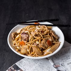 A popular Japanese food street snack that's simple to make at home. Featuring pork and oodles of noodles.