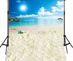 >> Click to Buy << Starfish Beach wall Pafty Island Blue Sky White Clouds backdrops High-grade Vinyl silk cloth Computer printed party Backgrounds #Affiliate