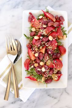 ROASTED GRAPE AND BEET SALAD WITH QUINOA AND ARUGULA- Sequins at Breakfast