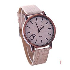 Wkae Watches Quartz Watch Simulation Wooden Wristwatches Women Watches Casual Wooden Color Leather Strap Montre Femme Relogio Feminino ( Color : 1-W-035 )