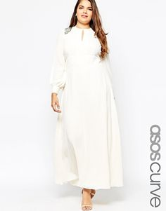 0d98a55347f91 ASOS CURVE  70s  Maxi Dress With Embellished Shoulder Curve Maxi Dresses