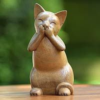 Speak No Evil Cat from @NOVICA, They help #artisans succeed worldwide.