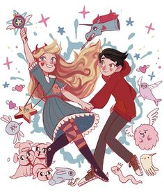 The Forces of Evil (Star Butterfly and Marco Diaz) Starco, Star Vs Les Forces Du Mal, Star Vs The Forces Of Evil, Evil Art, Fanart, Art Et Illustration, Animation, Star Butterfly, Kids Shows