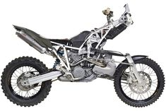 The idea of developing a home-built kit to convert the KTM 990 Adventure into a two-wheel drive motorcycle with hub-centre steering sounds difficult enough Ktm Motorcycles, Custom Motorcycles, Motorcycle News, Girl Motorcycle, Motorcycle Quotes, Cafe Racer Magazine, Dirt Bike Girl, Harley Bikes, Dirtbikes