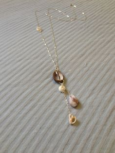 Hawaiian Cowry Puka Conch Dangle Chain Pendant Sterling Silver Necklace, $30.00