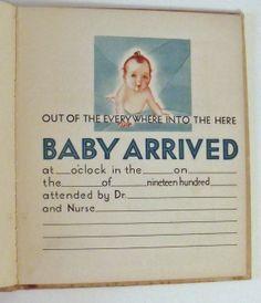 Vintage unused art deco baby record book  - The Years of Babyhood - Volland - 1931 - Possible OOAK