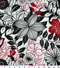 Keepsake Calico Fabric-Lg Flowers Blk Wht Red, , hi-res Going to try this for the 2 bedroom windows. Material, but just wrapped around the valence and draped down on 2 short sides. Maybe make some throw pillows and then I'll have to find a new duvet Grey And Red Living Room, Calico Fabric, Textiles, Fabric Purses, Joann Fabrics, Outdoor Fabric, Fabric Crafts, Floral Prints, Floral Fabric