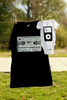Parent/child cassette and ipod tees
