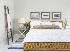 This neutral bedroom has a beachy vibe that is so calming. Just as a a place of rest should be. #hgtvmagazine http://www.hgtv.com/decorating-basics/cool-calm-and-collected-decorating/pictures/page-15.html?soc-pinterest