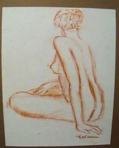 """FEMALE NUDE"" by Ruth Freeman DRAWN  CONTE' STICKS FROM LIFE 14 3/4"" X 18"" #Realism"