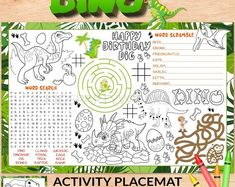 Dinosaur Activity Placemat by Kids Party Works. These are SO much fun for Dinosaur birthday parties as a party activity or as a party favor. Fun for playdates and rainy days. Great way to entertain kids. KidsPartyWorks Dinosaur Activities, Party Activities, Fun Activities For Kids, Dinosaur Birthday Party, Birthday Parties, Kids Activity Books, Kid Party Favors, 3 Kids, Party Shop