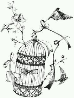 Birdcage or birds in flight Éphémères Vintage, Images Vintage, Vintage Labels, Diy Image, Etiquette Vintage, Foto Transfer, Transfer Paper, Motifs Animal, Printable Designs