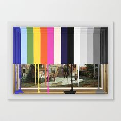 Garage Sale Painting of Peasants with Color Bars Stretched Canvas by Chad Wys