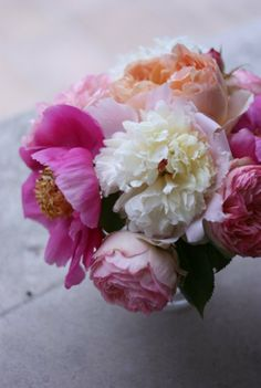garden roses and peonies