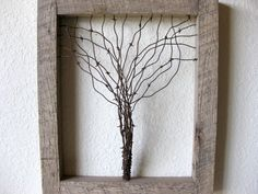 Reclaimed Barn Wood and Barbed Wire Tree Wall by PhloxRiverStudio