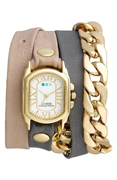 La Mer Collections 'Wellington Malibu' Leather & Chain Wrap Bracelet Watch, 23mm x 30mm available at #Nordstrom