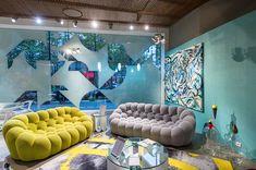 Street Art Inside chez Roche Bobois | Canapé Bubble design Sacha Lakic #SachaLakic #RocheBobois #Bubblesofa