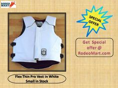 Flex Thin Pro Vest in White Small in Stock, It's 30% thinner than the other Ride Right vests. it's help to protect your vest during bull fighting and horse riding. Rodeo Mart is giving you special offer in new year season. get this protective vest in very cheap price. Click here ----> https://www.rodeomart.com/Flex-Thin-Pro-Vest-by-Ride-Right-p/flex-thin-pro-vest-white-small.htm  #rodeospecials  #westernspecials #protectiverodeogear  #protectiverodeovest  #protectiverodeoequipment