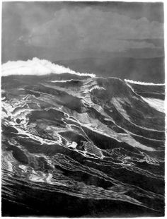 francisco faria - the third wave (large sea of the levant, series) , 150 x 115 cm, graphite on paper, 2013 - 2nd panel.