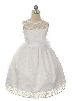 Elegant White Lace Dress - flower girl