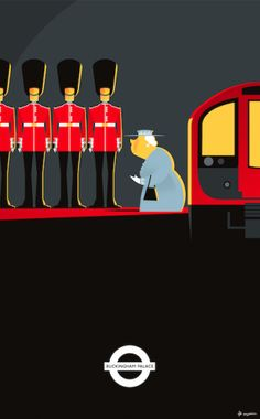 Going to Work by Fabio Corazza. Illustration based on the urban legend that HM the Queen has her own private secret tube station. London Stories Illustrated At London Transport Museum London Poster, New Poster, London Underground, London Transport Museum, Railway Posters, U Bahn, Vintage Travel Posters, Retro, Illustrations