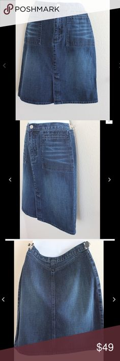 """💟New Listing💟 Club Monaco sz 2 Denim Skirt B18 Club Monaco Denim Skirt  Size 2  Would make a great gift for a loved one or special treat for yourself!  Measurements while laying flat:  Waist 13 1/2""""   Hips 17""""  Length from Waist 20""""  Front Slit 6 1/2"""" Club Monaco Skirts Pencil"""