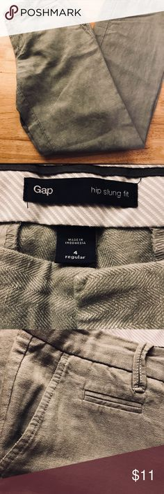 Gap-Trousers Size 4 super soft cotton Linen Blend These pants show little wear expect for the bottom pant leg hem is slightly torn on both legs ( not really noticeable).  Please note pictures. GAP Pants Trousers