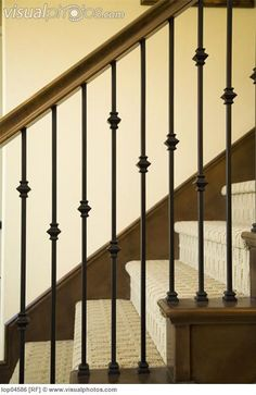 Detail of Wraight Iron and Wood Railing > Stock Photos . Iron Staircase Railing, Wood Railing, Railing Design, Staircase Design, Bannister, Banister Remodel, Stairways, House Styles, Iron Spindles