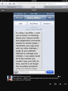 """Guys maybe Dance Moms is ending. We all see the real Abby. This is Brandon's mom's Twitter. the other text are under this pic,thank you  @Denise Ziegler's Perfection  for this pic , This text, rumors about Maddie dying, it seems like the show is ruining they're lives. This """"Dance Moms Fandom"""" is sick to 8-15 year olds! Is this the end?"""