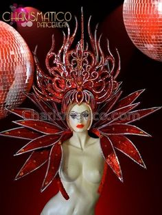༻✿༺ ❤️ ༻✿༺ CHARISMATICO Red glitter headdress and collar w  mirror & amber accents ༻✿༺ ❤️ ༻✿༺