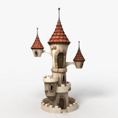 Cute Cartoon Castle, ready for close up and HD renders. 3d Fantasy, Fantasy House, Cartoon House, 3d Cartoon, Game Props, Wine Bottle Art, House Illustration, Illustrations, Cute Fairy