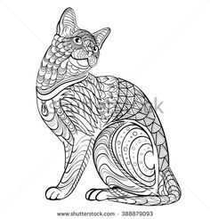 Hand drawn ink pattern. Coloring book for adult. Vector illustration cat - stock vector
