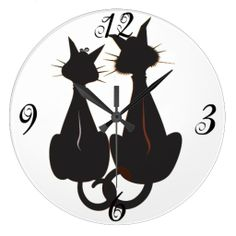 Two Black Kitty Cats - Cute and whimsical Wall Clock <3