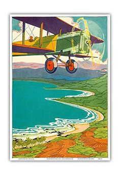 Bi-Plane Over The Hawaii Coastline - Color Book Plate from Kimo by Alice Cooper Bailey Illustrated by Lucille Webster Holling c.1928 - Hawaiian Master Art Print - 13 x 19in * Want to know more, click on the image. (This is an affiliate link) #KitchenIslandIdeas