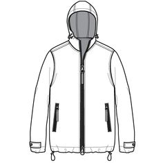 Rain Wear Jacket Flat Sketch