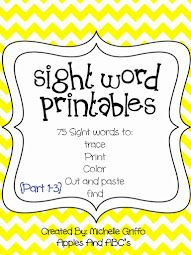 Apples and ABC's: Dolch Pre-Primer Sight Word Printables