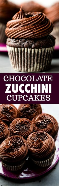 Super moist and rich chocolate zucchini cupcakes with chocolate frosting! You won't taste the zucchini and everyone FLIPPED for these cupcakes! Recipe on sallysbakingaddic. Chocolate Zucchini Cupcakes, Chocolate Fudge Frosting, Chocolate Snacks, Zucchini Cake, Mini Chocolate Chips, Chocolate Recipes, Zuchinni Desserts, Chocolate Torte, Chocolate Muffins