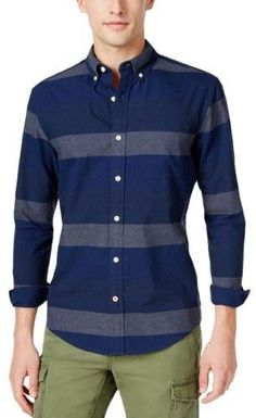 Tommy Hilfiger Mens Cotton Striped Button-Down Shirt