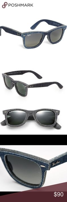 🎉SALE🎉 Ray Ban Wayfarer Denim Sunglasses Each pair is then finished with original rivets and a hypoallergenic silicone nose pad to make them feel as good as they look. Gradient lenses which are characterized by a smooth transition from a solid color to a transparent shade of the same color. Made in Italy. Does not come with cloth or box! Brand new and no signs of wear. Tags: follow game, sunglasses, cute sunglasses Ray-Ban Accessories Sunglasses