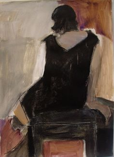 """Black Dress by Karen Darling. Acrylic and mixed media on paper 22""""x30"""""""