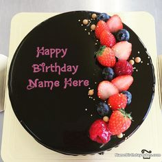 write name on Amazing Black Forest Decorated Fruit Cake For Wife Birthday picture
