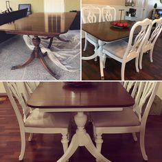 Duncan Phyfe Table Makeover. White Chalk Paint On Table Base And Repainted  Chairs From A Previous Table To Match!