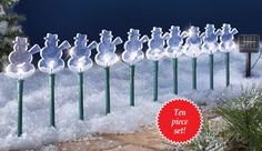 Solar Snowman Pathway Light Stakes