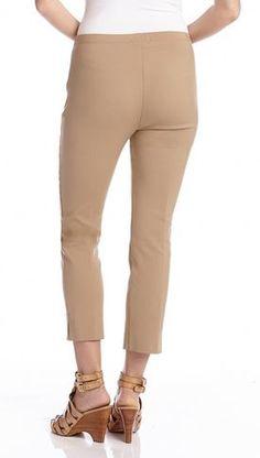 Khaki  Soft Stretch Clean Front Crop Pant #Resort_2015 #Resort2015 #Karen_Kane #Khaki #Soft #Stretch #Crop #Pants #Spring #Summer #Beach #Beachwear #Fashion