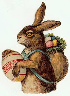 Hare ready for Easter - Scrap. Litho prob. German between 1890 and 1920.
