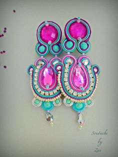 Statement Long Colorful Soutache Earring, Teal-Purple-Fuchsia Rhinestones Earring, Bollywood Soutache Earring, Colorful Chandelier Earring - All For Decoration Soutache Earrings, Rhinestone Earrings, Statement Earrings, Drop Earrings, Elegant Woman, Teal And Pink, Purple, Chandelier Earrings, Turquoise Bracelet