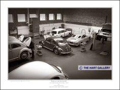 VW Beetles, Volkswagen Variant & VW Karmann Ghia in the workshop of Mill Street Garage, Stourbridge. Photographed in 1968. #Beetle #KarmannGhia #Volkswagen #VW