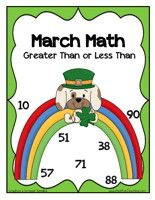 St. Patrick'sDay Inequalities Activity:Sort the number cards by greater than 50 or less than 50. Then, place the number cards on the board to show greater than and less than.    St. Patrick's Day InequalitiesActivity – Click Here    Information: St. Patrick's Day Activity, Inequality, Greater Than Less Than, March