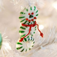 Use round peppermint candies to make creative Christmas ornaments.
